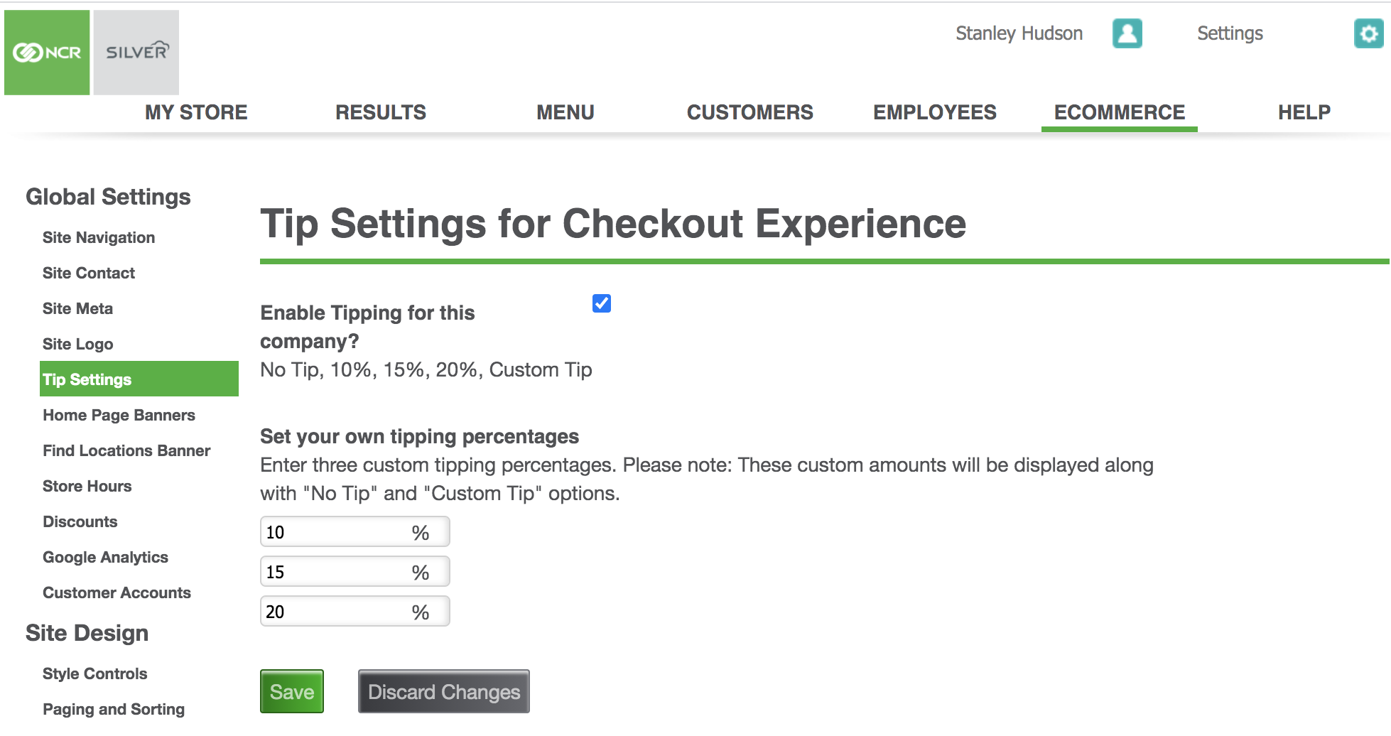 ncr silver commerce tip settings